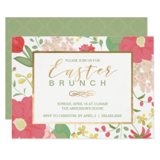 Easter Brunch, Spring Gold Floral Invitation