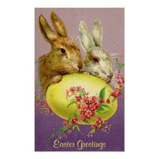 Easter Bunnies and Egg Vintage Poster