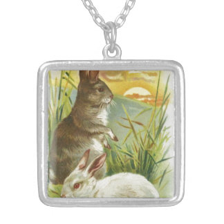 Easter Bunnies at Sunrise Silver Plated Necklace