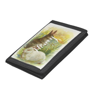 Easter Bunnies at Sunrise Tri-fold Wallets