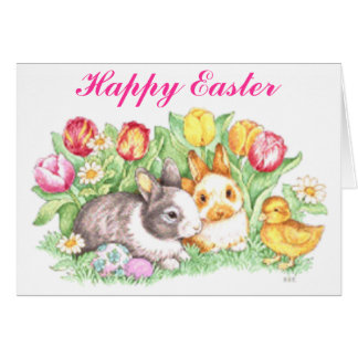 Easter Bunnies, Duckling and Tulips Card
