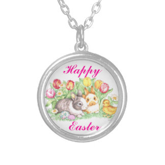 Easter Bunnies, Duckling and Tulips Personalized Necklace