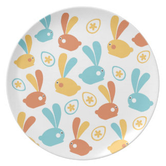 Easter Bunnies illustration Plate