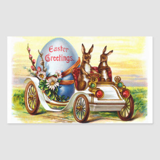 Easter Bunnies in Automobile Rectangular Sticker