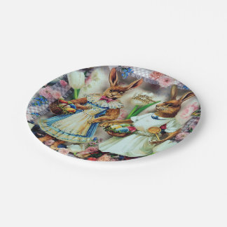 Easter Bunnies Rabbits Paper Plate