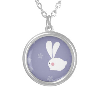 Easter Bunnies Round Pendant Necklace