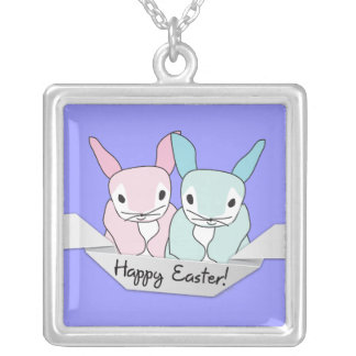 Easter Bunnies Square Pendant Necklace
