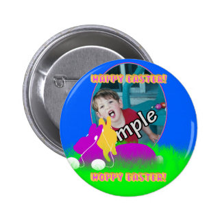 Easter Bunnies With Ear Buds Photo Frame Button