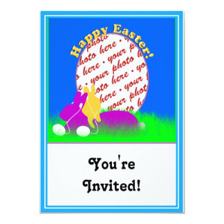 "Easter Bunnies With Ear Buds Photo Frame 5"" X 7"" Invitation Card"