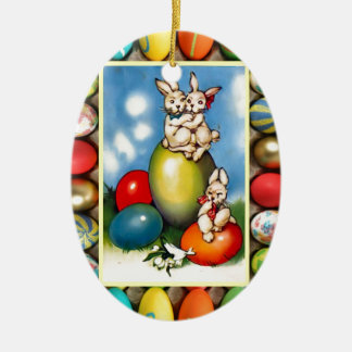 Easter bunnies with Easter eggs Ceramic Oval Decoration
