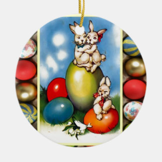 Easter bunnies with Easter eggs Christmas Ornament