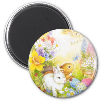 Easter bunny 6 cm round magnet