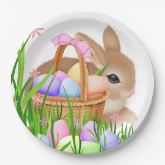 Easter bunny and basket party paper plate