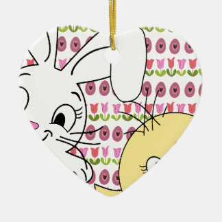 Easter bunny and chick ceramic heart decoration
