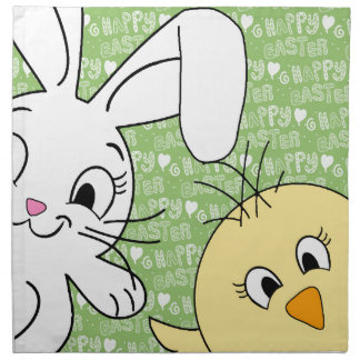 Easter bunny and chick napkin
