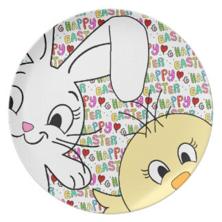 Easter bunny and chick plate