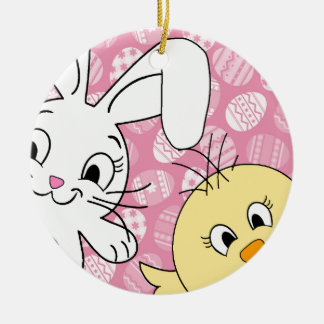 Easter bunny and chick round ceramic decoration