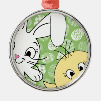 Easter bunny and chick Silver-Colored round decoration