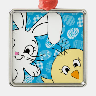 Easter bunny and chick Silver-Colored square decoration