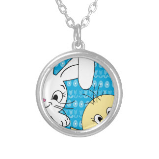 Easter bunny and chick silver plated necklace