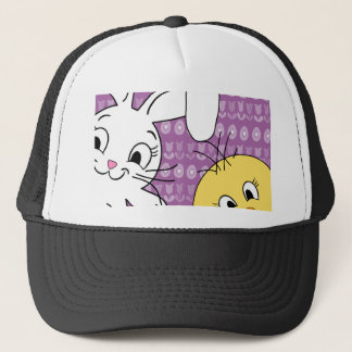Easter bunny and chick trucker hat