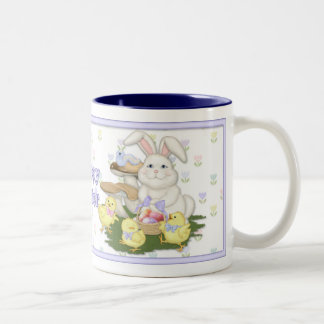 Easter Bunny and Chicks Two-Tone Coffee Mug