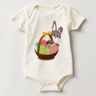 Easter Bunny and Colorful Egg Basket Baby Bodysuit