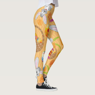 Easter Bunny And Colourful Eggs Leggings