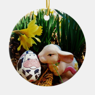 Easter Bunny and cow egg Christmas Tree Ornaments