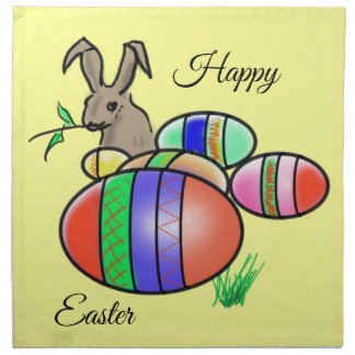 Easter Bunny and Dyed and Decorated Easter Eggs Napkin