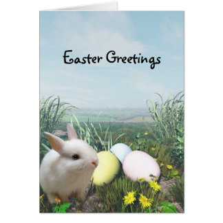Easter Bunny and Easter Eggs Greeting Card