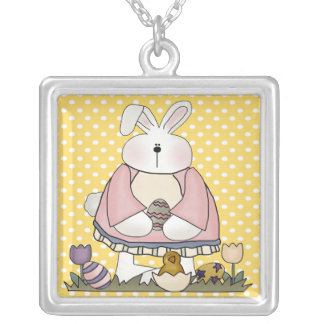 Easter Bunny and Easter Eggs Square Pendant Necklace