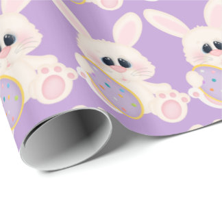 Easter bunny and egg pattern wrapping paper