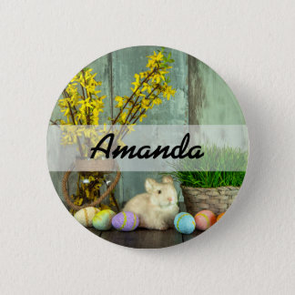 Easter Bunny and Egg Scene 6 Cm Round Badge