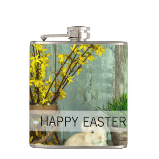 Easter Bunny and Egg Scene Hip Flask