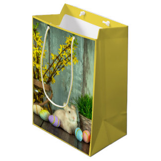 Easter Bunny and Egg Scene Medium Gift Bag