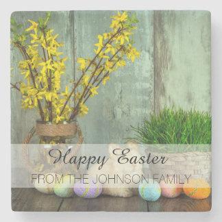 Easter Bunny and Egg Scene Stone Coaster
