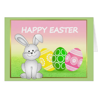 EASTER BUNNY AND EGGS, ILLUSTRATION HAPPY EASTER CARD