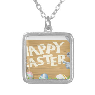 Easter bunny and eggs sign custom necklace