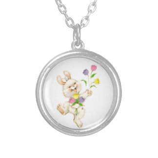 Easter Bunny And Tulips Round Pendant Necklace