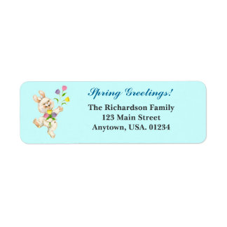 Easter Bunny and Tulips Spring Greetings Return Address Label