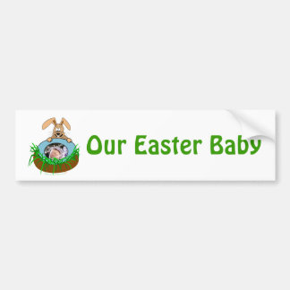 Easter Bunny Baby Announcement Photo Template Bumper Sticker