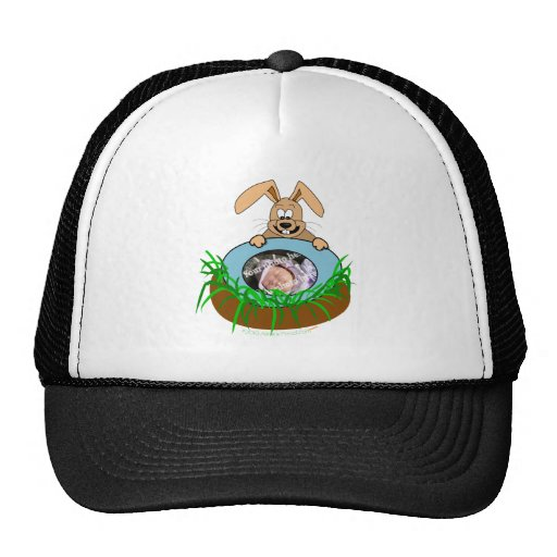 Easter Bunny Baby Announcement Photo Template Mesh Hat