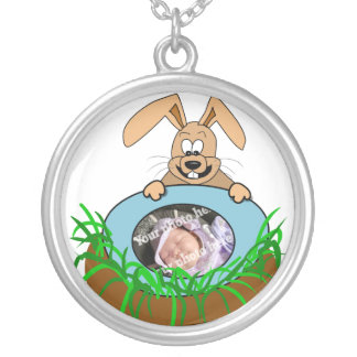 Easter Bunny Baby Announcement Photo Template Pendants