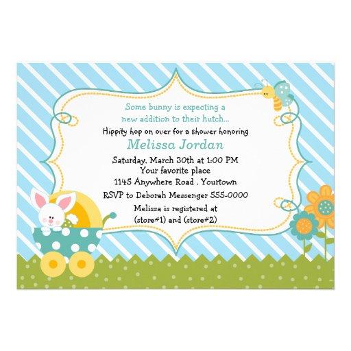 Easter Bunny Baby Boy Shower Invitation