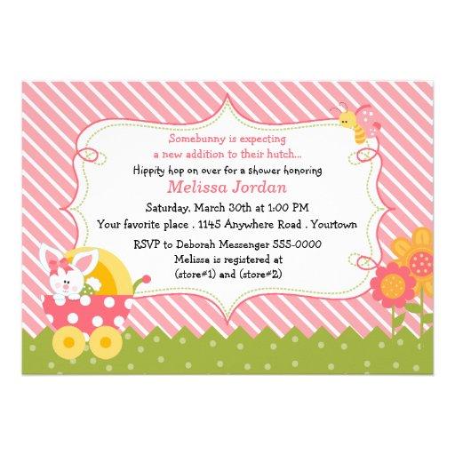 Easter Bunny Baby Girl Shower Invitation
