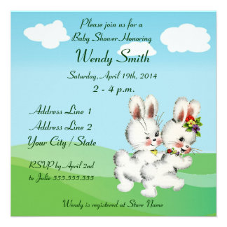 Easter Bunny Baby Shower Invitation Cards
