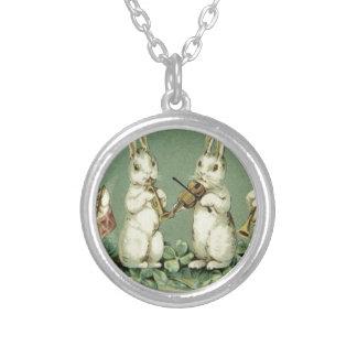 Easter Bunny Band Drum Trumpet Violin Shamrock Round Pendant Necklace