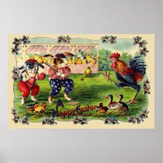 Easter Bunny Baseball Poster