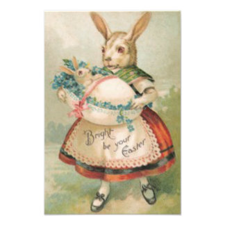 Easter Bunny Basket Baby Forget Me Not Photo Print